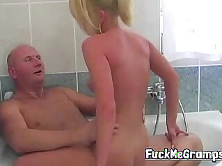 bathing, blonde, grandpa, hottie, old, slim, young, young and old