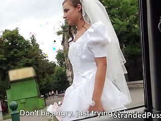 public - Sexy bride gets gang banged by a big cock stranger