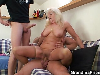 3some, blonde, grandma, granny, mother, party