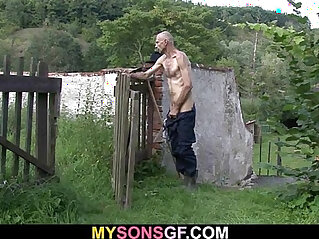 cheating, daddy, granny, horny, outdoor